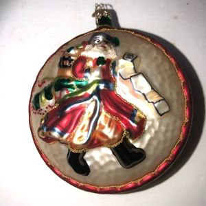 Department 56 large blown glass Santa ornament